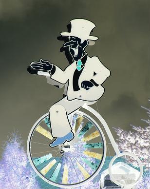 Kurt auf dem Fahrrad am Ziel